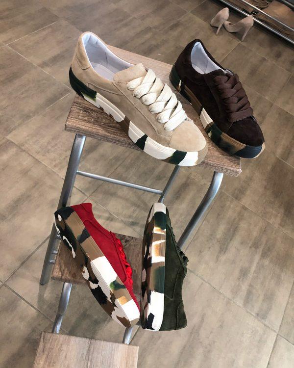 VN Авторская обувь купить кеды из замши темно-коричневые подошва хаки (5)