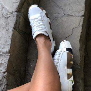 VN Авторская обувь купить кеды кожа белая подошва коричневая