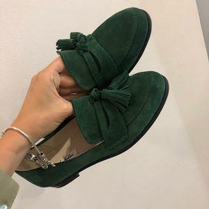 VN Авторская обувь купить лоферы замшевые темно-зеленые