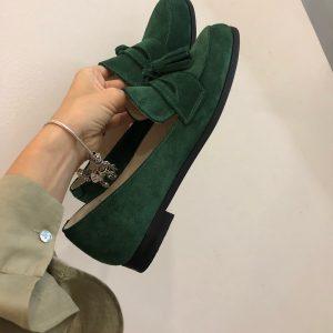 VN Авторская обувь купить лоферы замшевые темно зеленые (2)