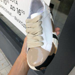 VN Демисезонная женская обувь кеды кожаные белые лаковые
