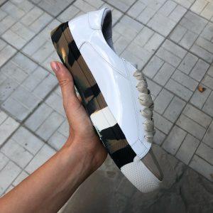 VN Демисезонная женская обувь кеды кожаные белые лаковые (9)