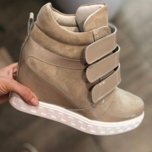 VN Демисезонная женская обувь сникерсы замша бежевая на липучках