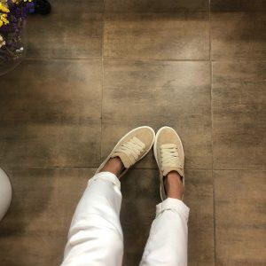 VN Индивидуальный пошив обуви кед из замши бежевой светлой
