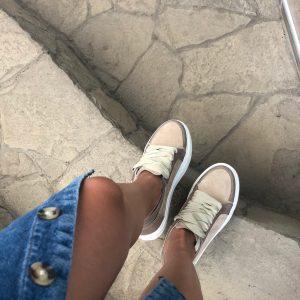 VN Индивидуальный пошив обуви кед женских замшевых коричнево-бежевых