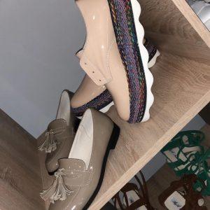 VN Индивидуальный пошив обуви лоферов кожаных серо-коричневых лаковых
