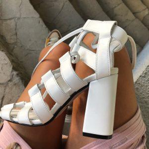 VN Кожаная обувь ручной работы босоножки белые на высоком каблуке