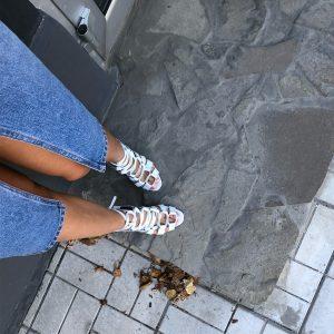 VN Кожаная обувь ручной работы босоножки белые на высоком каблуке (3)