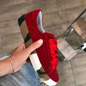 VN Кожаная обувь ручной работы кеды замшевые красные