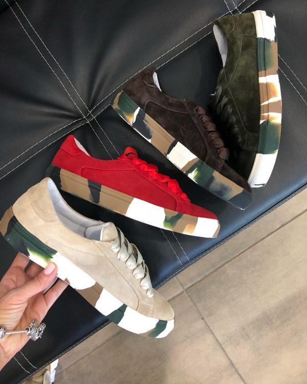 VN Кожаная обувь ручной работы кеды замшевые красные (3)