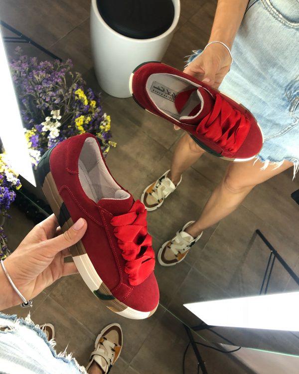 VN Кожаная обувь ручной работы кеды замшевые красные (4)