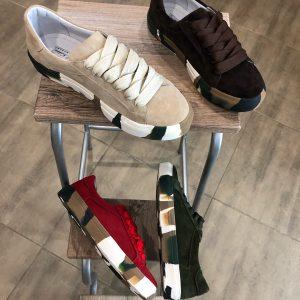 VN Кожаная обувь ручной работы кеды замшевые красные (5)