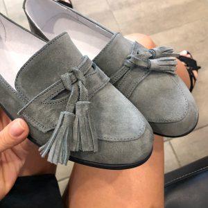 VN Кожаная обувь ручной работы лоферы замшевые серые