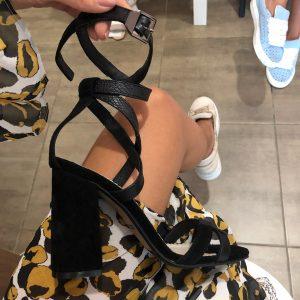 VN Купить женскую обувь в интернет магазине босоножки кожаные черные на застежке (6)