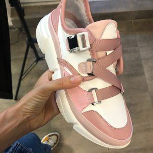 VN Купить женскую обувь в интернет магазине кроссовки бело-розовые со сменными шнурками