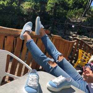 VN Летняя женская обувь кеды голубые кожаные со шнурками белыми