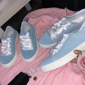 VN Летняя женская обувь кеды голубые кожаные со шнурками белыми (6)