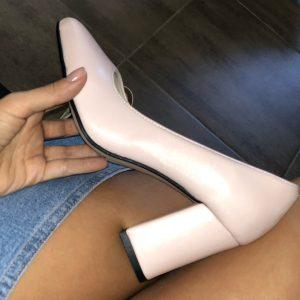 VN Летняя женская обувь туфли кожаные светло-розовые на низком каблуке