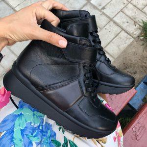 VN Обувь ручной работы натуральная кожа кроссовки черные осенние