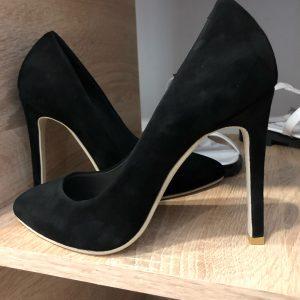 VN Обувь ручной работы натуральная кожа туфли замшевые черные на шпильке
