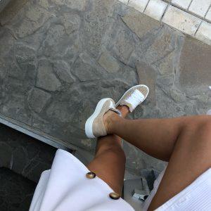 VN Женская обувь осенняя кеды коричневые с белыми шнурками (1)
