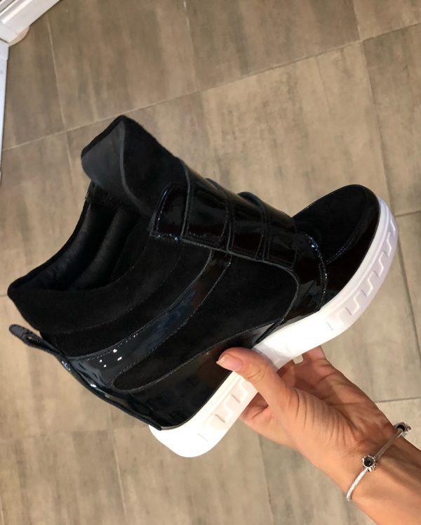 VN Женская обувь осенняя сникерсы замшевые черные с лаковыми вставками (1)
