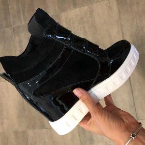 VN Женская обувь осенняя сникерсы замшевые черные с лаковыми вставками