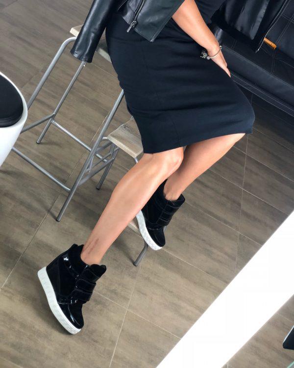 VN Женская обувь осенняя сникерсы замшевые черные с лаковыми вставками (7)
