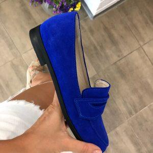 VN Женская обувь ручной работы лоферы из замши ярко-синие