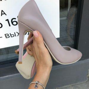 VN Женская обувь ручной работы туфли из кожи лиловые светлые