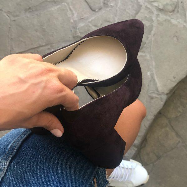 VN Женская обувь ручной работы туфли замшевые марсала (1)