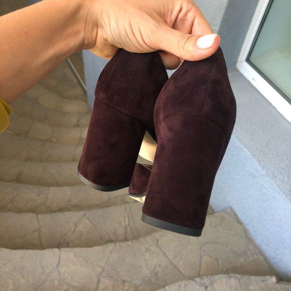 VN Женская обувь ручной работы туфли замшевые марсала (2)