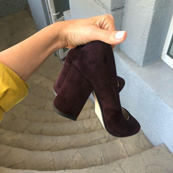 VN Женская обувь ручной работы туфли замшевые марсала (3)