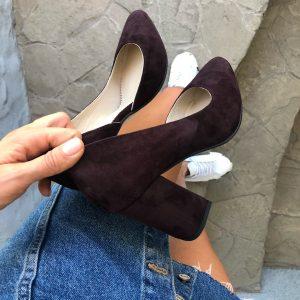 VN Женская обувь ручной работы туфли замшевые марсала