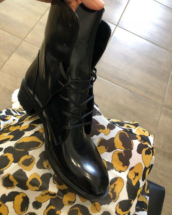 VN Женские ботинки без каблука кожа лаковая черная (2)