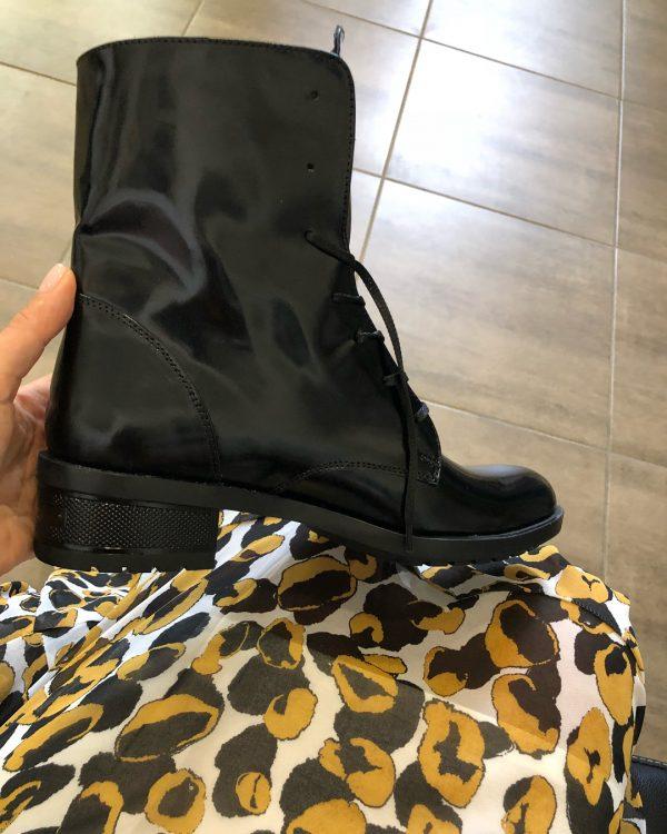 VN Женские ботинки без каблука кожа лаковая черная (3)