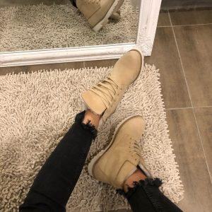 VN Женские ботинки зимние замшевые беж на шнуровке