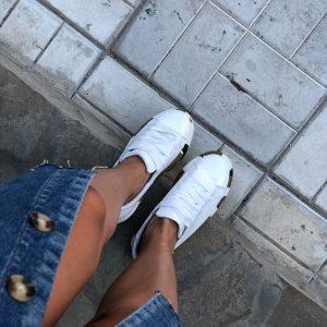 VN Женские кожаные кеды белые с подошвой хаки (8)