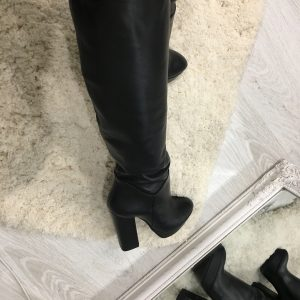 VN Женские сапоги демисезонные кожаные черные с каблуком