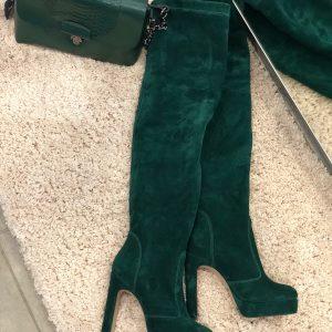 VN Женские сапоги кожаные на каблуке изумрудные