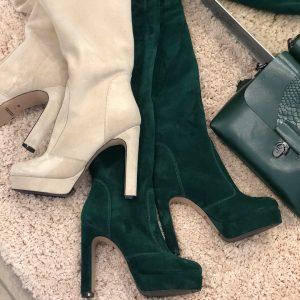 VN Женские сапоги кожаные ручной работы бежевые на каблуке