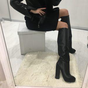 VN Женские сапоги зимние из кожи черные высокие каблук
