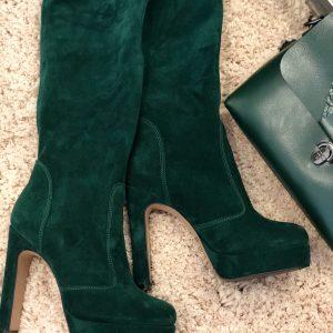 VN Женские сапоги зимние замшевые темно-зеленые на высоком каблуке