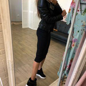 VN Женские сникерсы демисезонные кожаные черные (7)