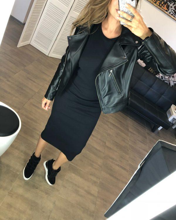 VN Женские сникерсы кожаные черные на липучках стильные (4)
