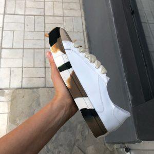 VN Женские замшевые кеды кожаные белые с подошвой хаки (1)