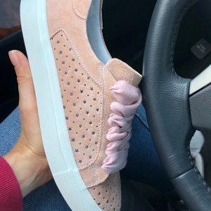 VN Женские замшевые кеды розовые мягкие с отверстиями