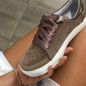 VN Женские замшевые кеды темно-коричневые с атласными шнурками коричневыми
