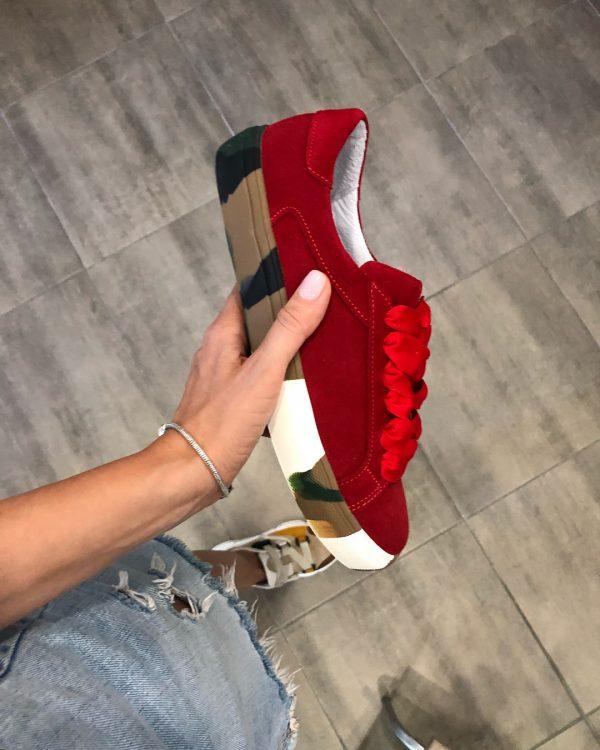 VN Женские замшевые кеды ярко-красные с подошвой хаки (3)
