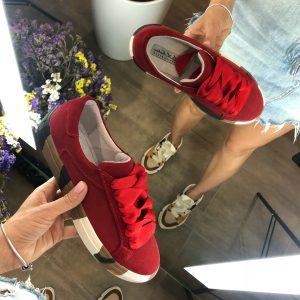 VN Женские замшевые кеды ярко-красные с подошвой хаки